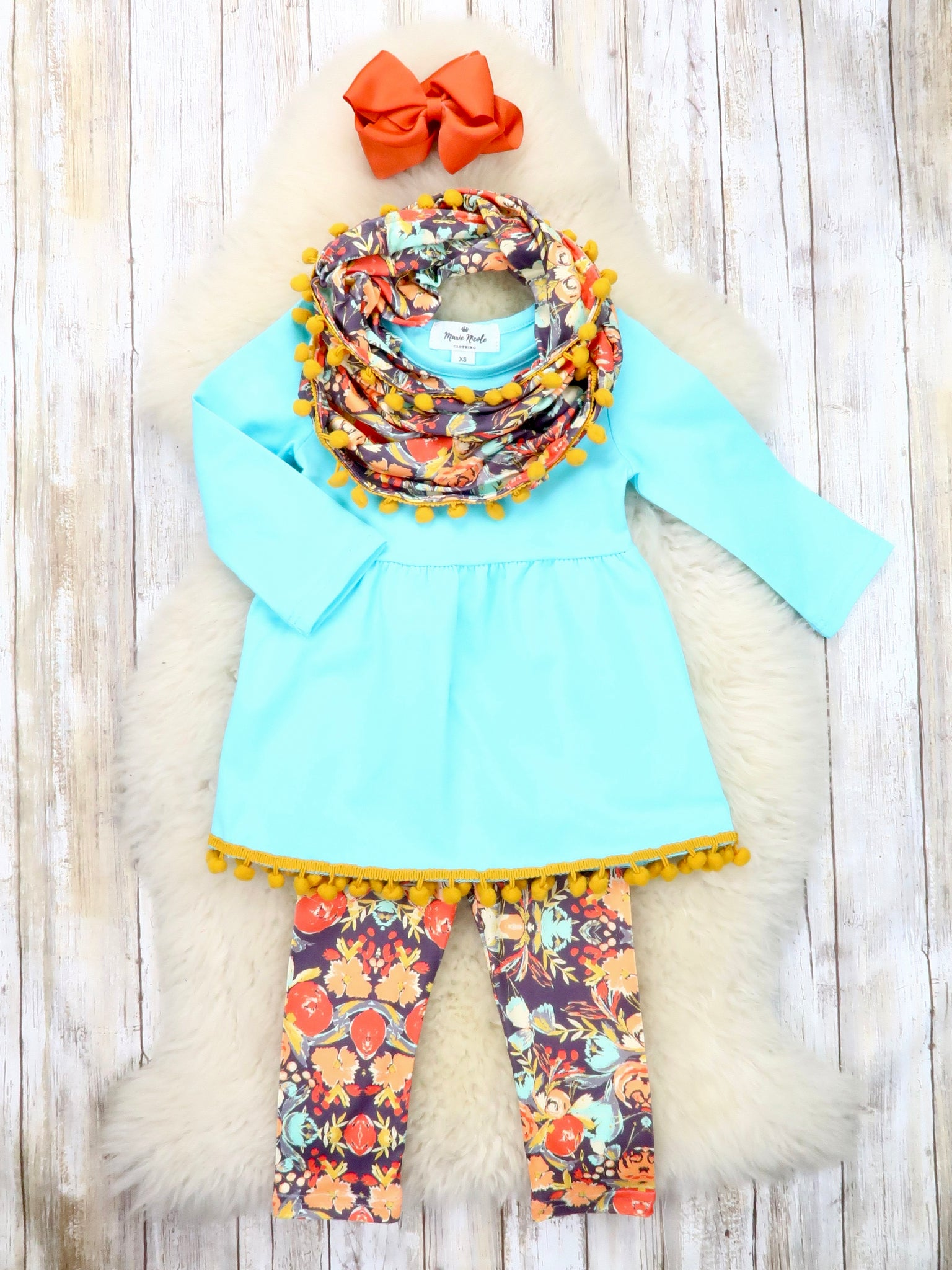 Light Blue Tunic Fall Floral Pants & Scarf Outfit