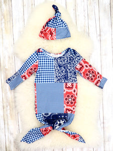 Red / Blue Plaid & Paisley Sleep Gown & Hat