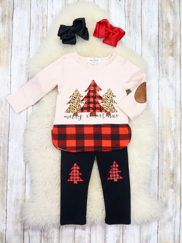 """Merry Christmas"" Trees Top & Black Pants Outfit"
