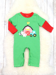 Green Pinstripe Farm Animal Romper