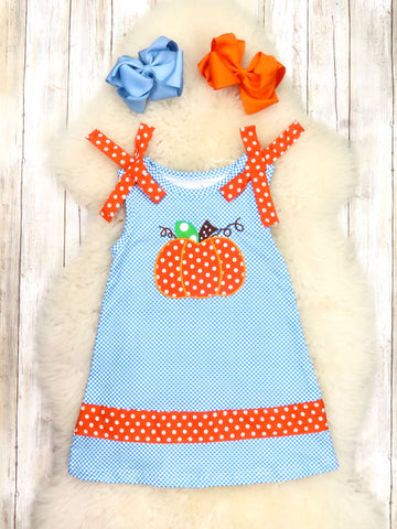 Blue Checkered Pumpkin Sleeveless Ruffle Dress