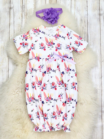 White Unicorn Bunny Gown