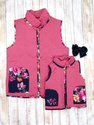 Mom & Me Pink and Navy Floral Vest