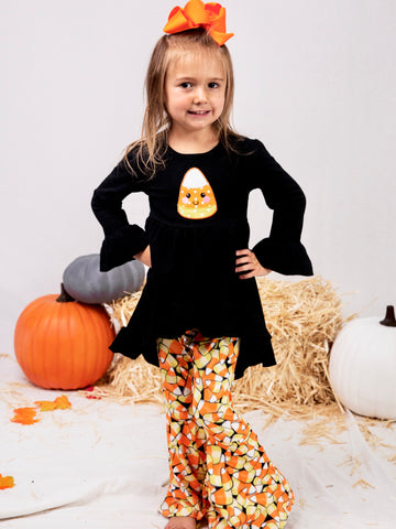 Black Candy Corn Hi-Lo Top & Bell Bottoms Outfit