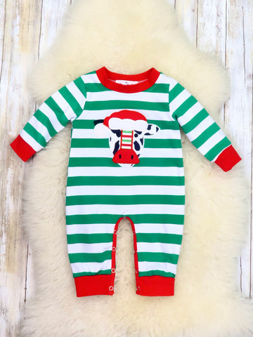 Green Striped Christmas Cow Romper