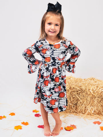 Smoky Pumpkin Ruffle Dress