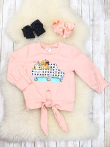 Peach Pumpkin Truck Tie Top