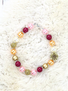 Pink / Orange / Gold Bubblegum Pearl Necklace