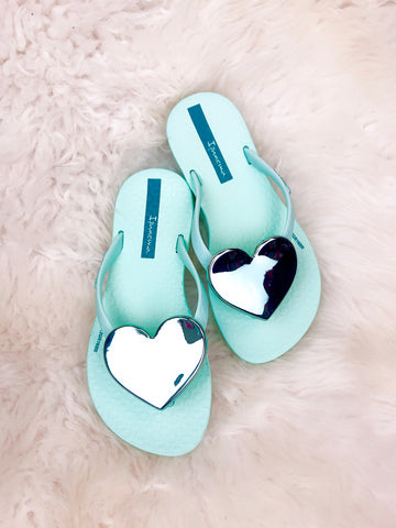 Girls Heart Flip Flops - 3 Colors