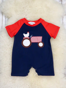Chicken On A Tractor Red/Navy Romper