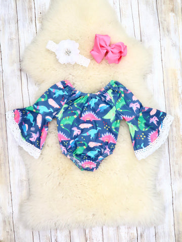 Navy Dinosaur Bell Sleeve Bubble Romper