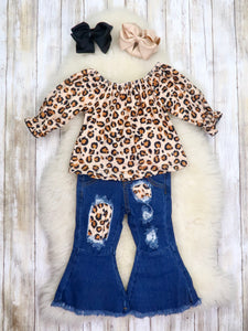 Leopard Ruffle Top & Denim Bell Bottoms Outfit