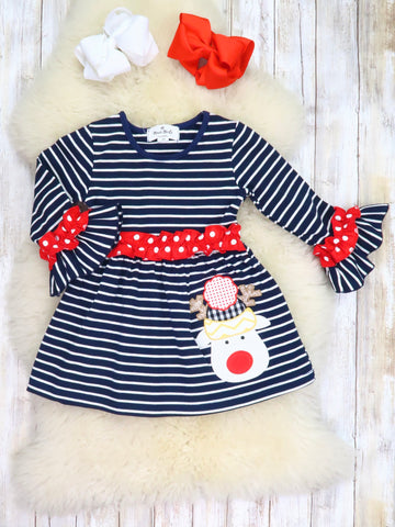 Navy / White Striped Reindeer Ruffle Dress