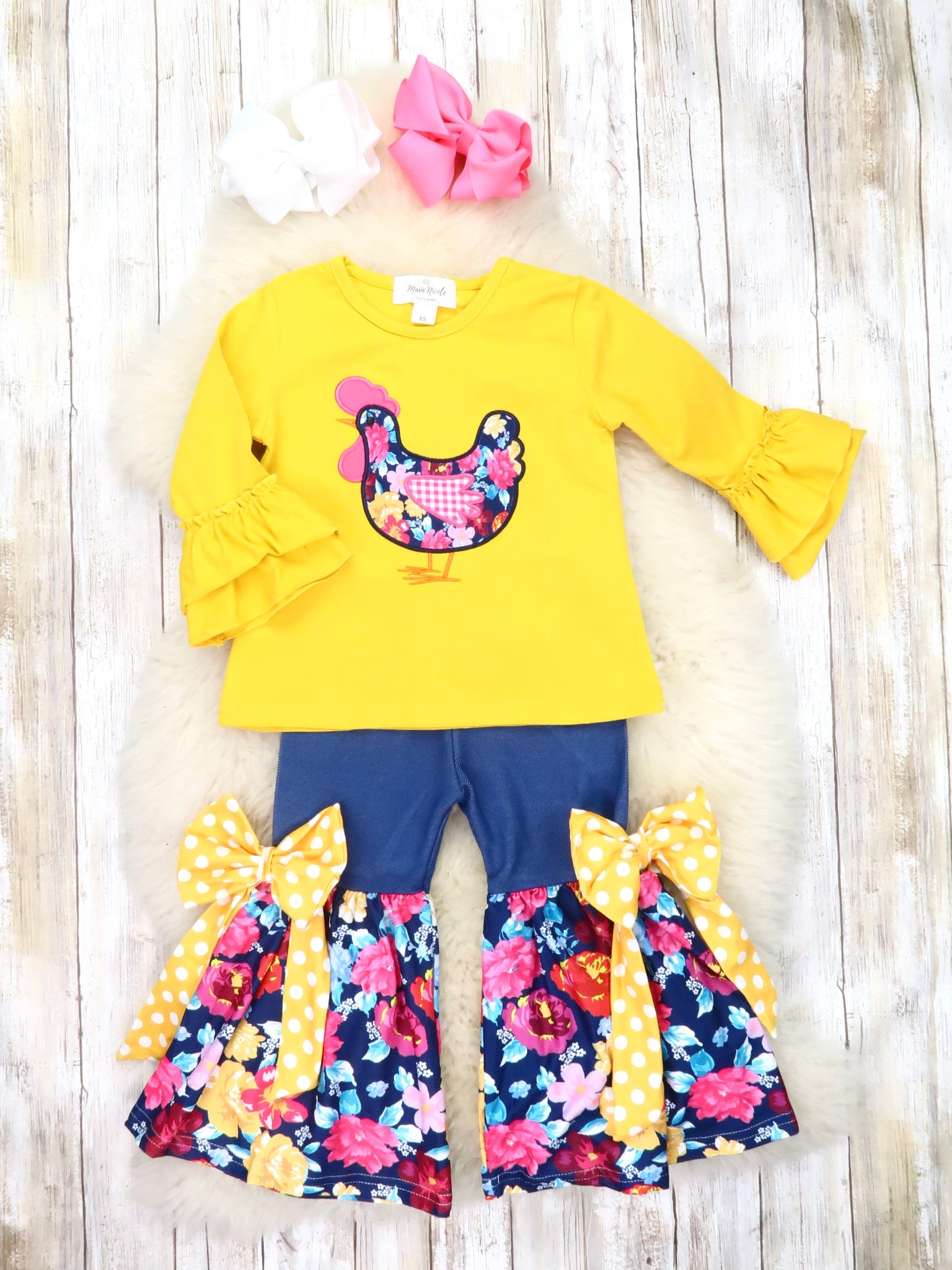 Yellow Chicken Ruffle Top & Floral Bell Bottoms Outfit