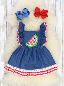 Chambray Watermelon Embroidery & Red Gingham Ruffle Dress