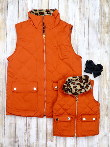 Mom & Me Quilted Leopard Reversible Vest - Orange