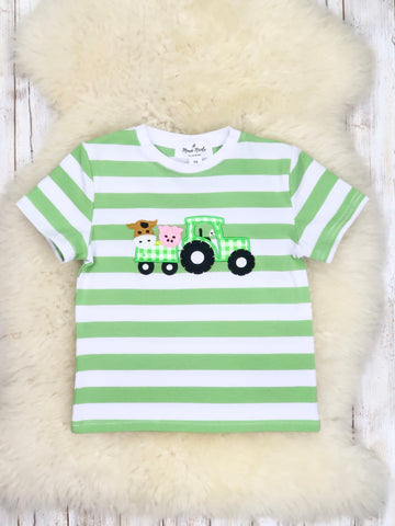 Green Striped Tractor T-Shirt