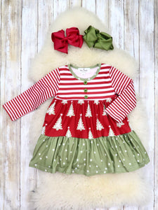 Cranberry Striped Christmas Tree Ruffle Dress