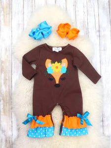Brown Fox Ruffle Romper
