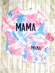 "Mom & Me ""Mama and Mini"" Pink / Blue Tie-Dye Top"