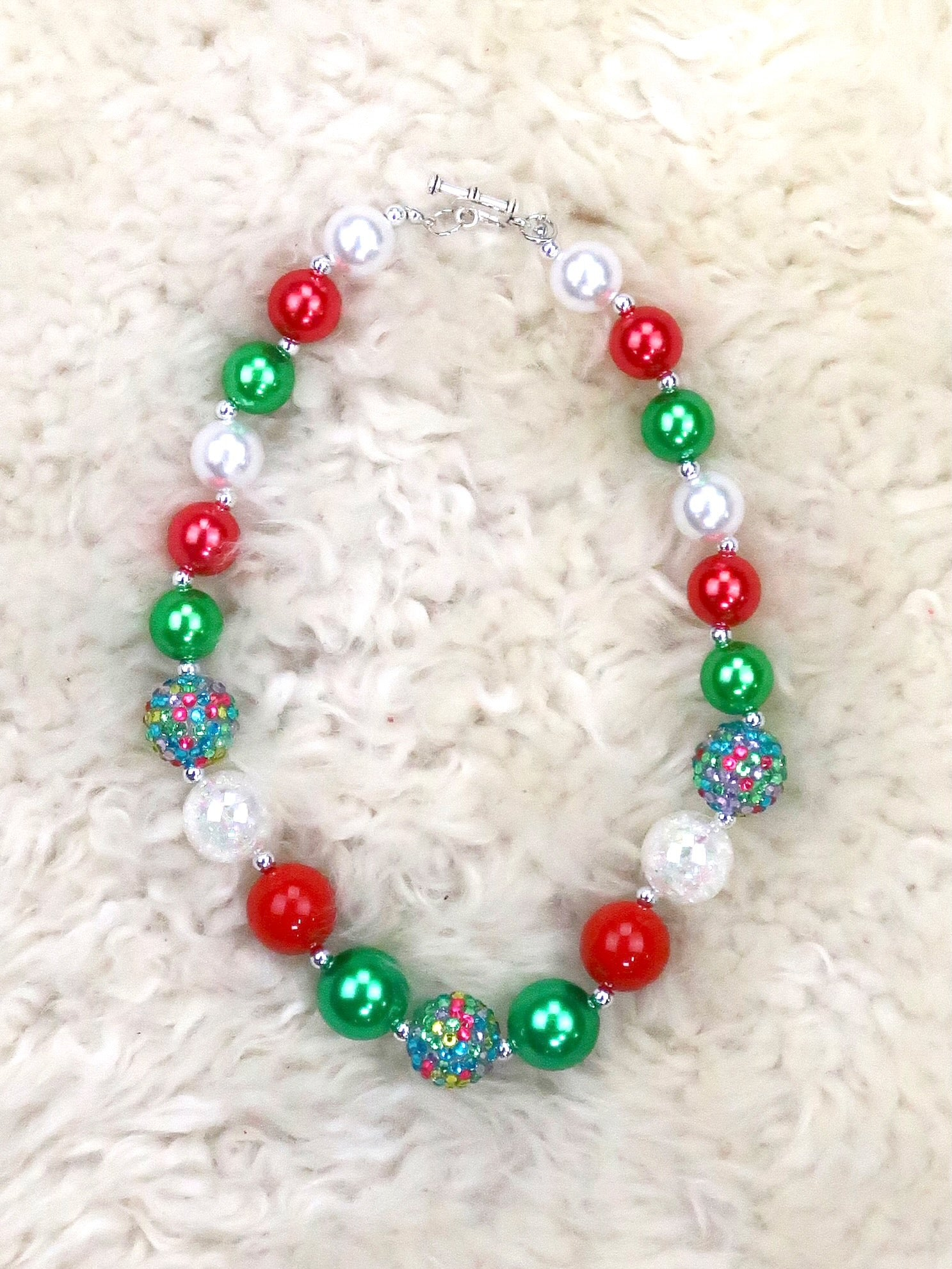 Red / Green Pearl Bubblegum Necklace
