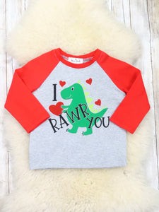 """I Rawr You"" Red / Gray Shirt"