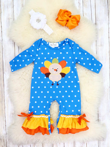 Blue Polka Dot Turkey Ruffle Romper