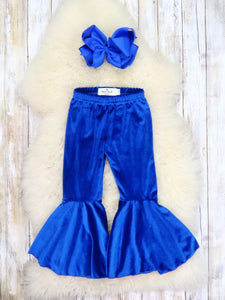 Velvet Bell Bottoms Pants - Royal Blue