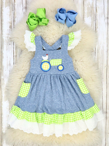 Heather Blue & Lime Green Chicken On a Tractor Flutter Sleeve Dress
