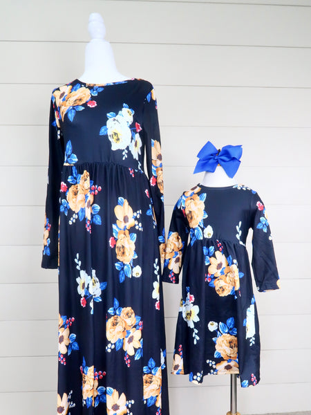 Mom & Me Navy Floral Maxi Dress
