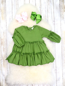 Cotton Ruffle Swing Top - Olive