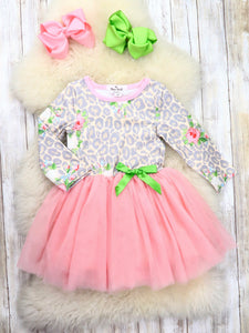 Pink / Gray Leopard Print Tutu Dress