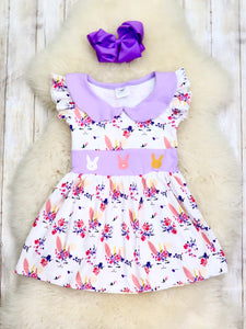 White Unicorn Bunny Collared Cap Sleeve Dress