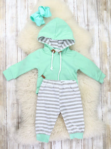 Mint Hooded Romper & Joggers Outfit (For Infants)