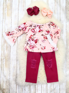 Pink Rose Floral Ruffle Top & Cranberry Pants Outfit