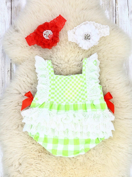 Watermelon Tractor Lace Bubble Romper
