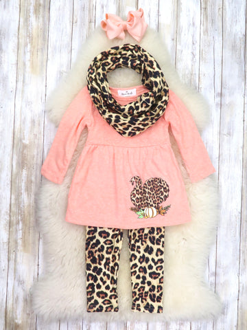 Turkey Leopard Tunic, Pants, & Scarf Outfit