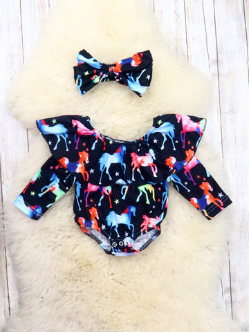 Black Rainbow Horse Ruffle Bubble Romper & Headband