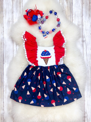 Ice Cream Ruffle Dress- Patriotic