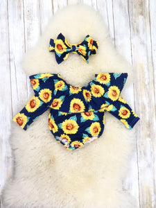 Navy Sunflower Ruffle Bubble Romper & Headband