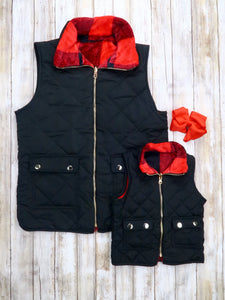 Mom & Me Buffalo Plaid Reversible Vest