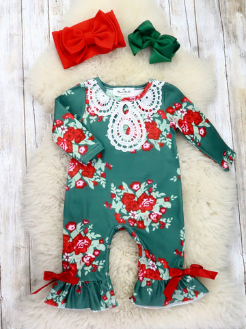 Green / Red Floral Ruffle Romper