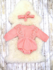 Peach Lace Ruffle Bubble Romper & Headband