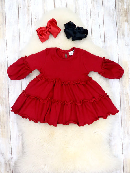 Cotton Ruffle Swing Top - Burgundy