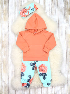 Peach & Teal Floral Hoodie, Joggers, & Headband Outfit