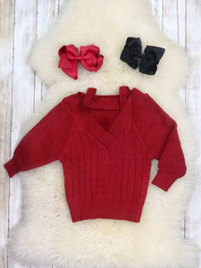 Mom & Me Cable Knit Sweater - Cranberry