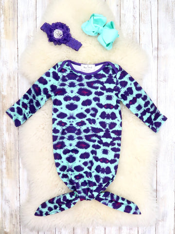 Teal / Purple Leopard Sleep Gown