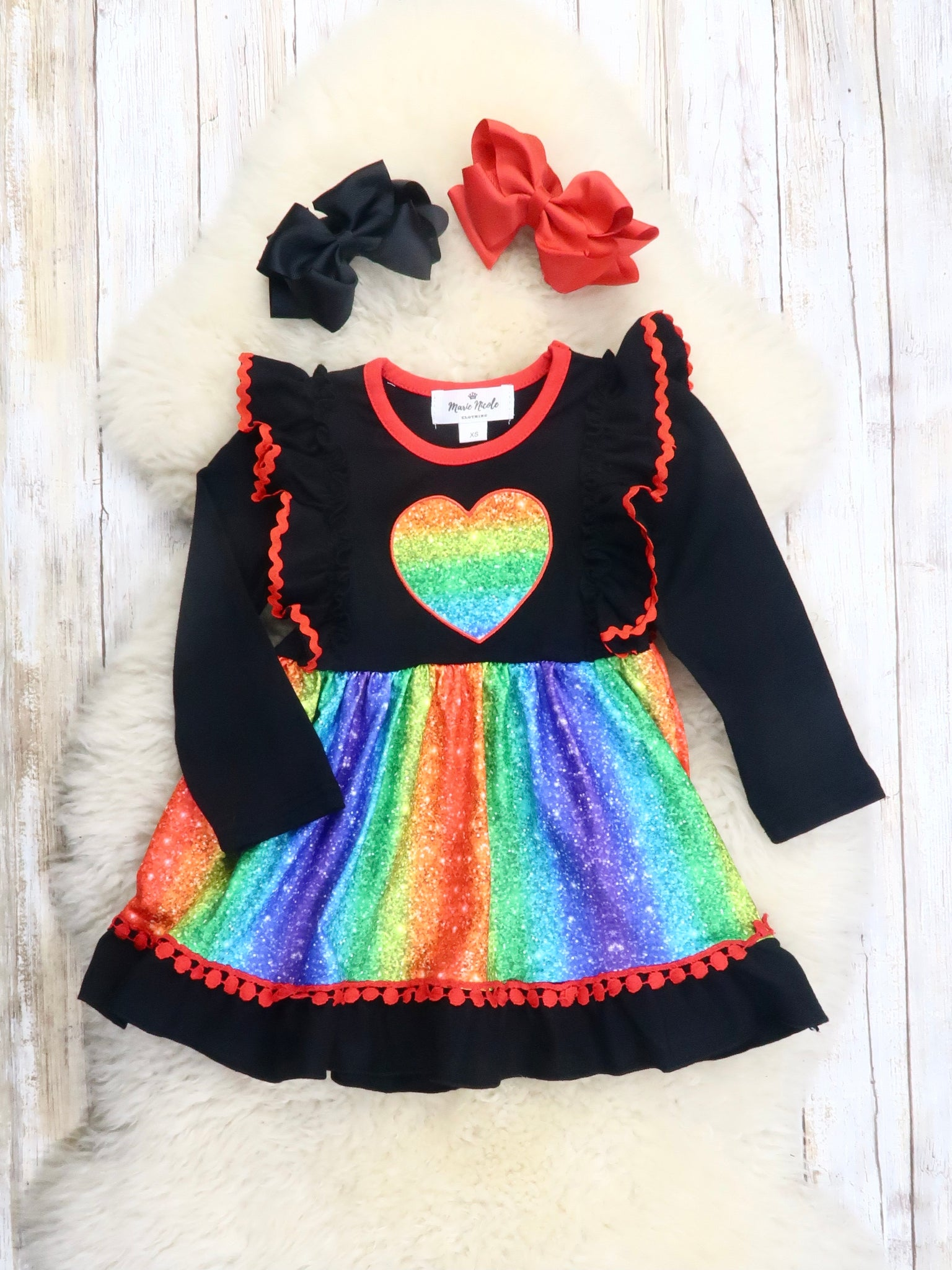 Black Rainbow Heart Ruffle Dress