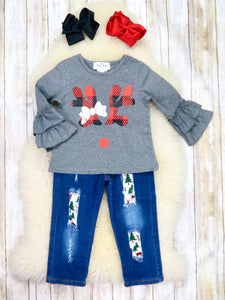 Gray Plaid Reindeer Ruffle Top & Distressed Denim Outfit