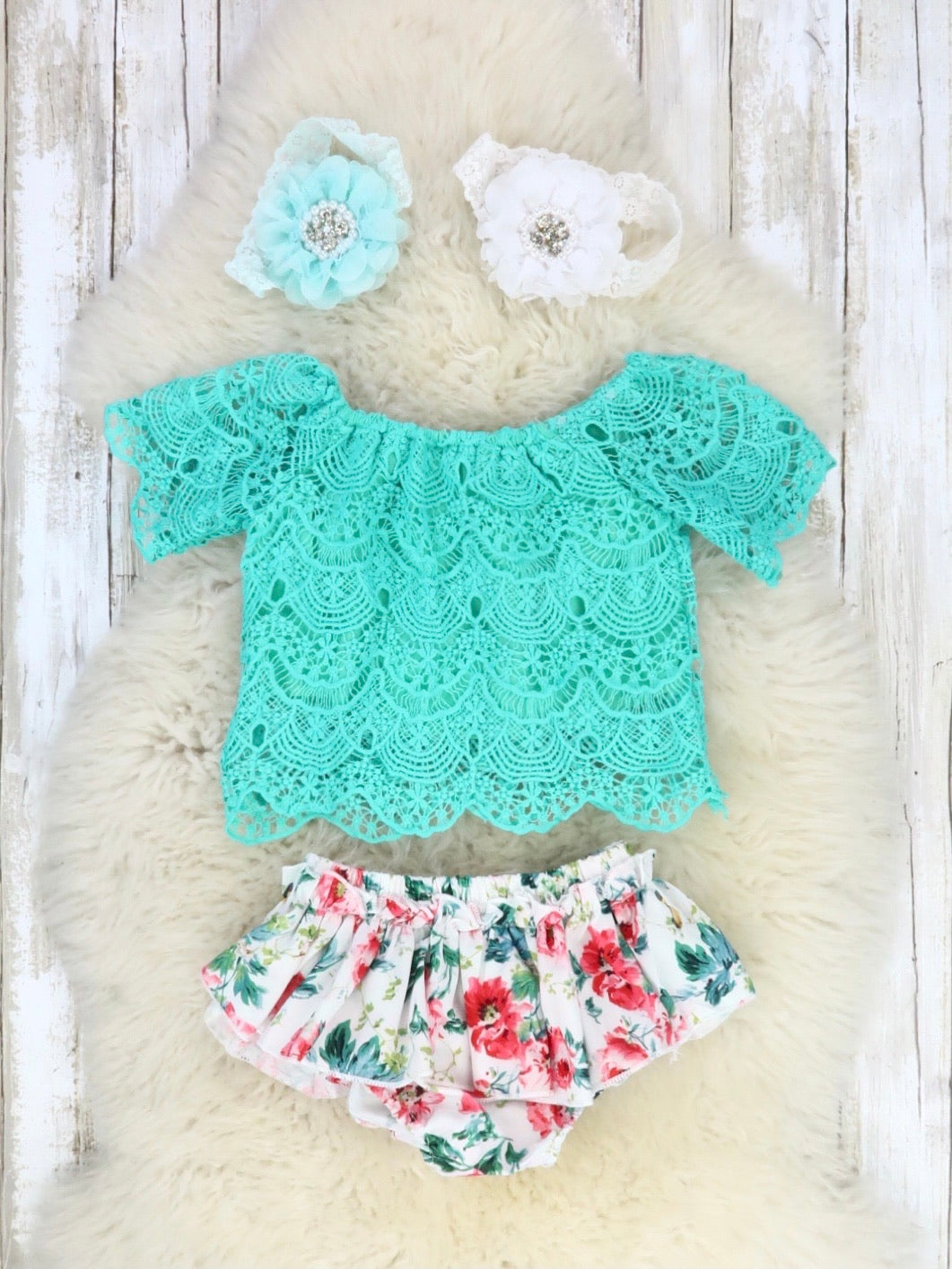 Teal Green Lace Crop & Floral Ruffle Bloomers